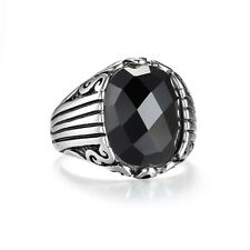 Men's Ring Solitaire Oval Black Gem Stainless Steel Silver Class Ring