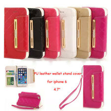 """New PU leather wallet stand cover case with lanyard card slots for iphone6 4.7"""""""