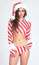 Candy Cane Sexy Holiday Set by Forplay Top Panty and Gloves made in USA