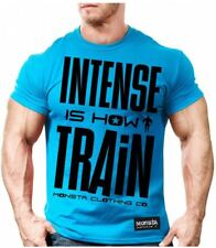 NEW Monsta Clothing INTENSE IS HOW I TRAIN (Blue) Weightlifting Workout Gym Tee
