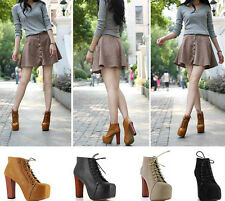 2014 Classic Women Lita platforms Punk high heels boots Lace Up Ankle shoes#0917