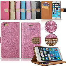 Diamond Bling Glitter Wallet Case Flip Cover for Apple iPhone 6 4.7 5.5 UK Ship