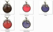 Alloy Resin Pendant, with Rhinestone, Round, Antique Silver, 76x57x14mm