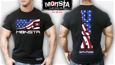 NEW Men's Monsta Clothing USA: UNLEASH SAVAGE AGGRESSION Workout Gym Tee (Black)