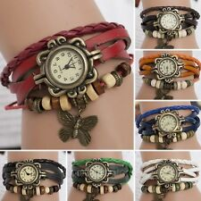 Fashion Weave WRAP Around Leather Butterfly Bracelet Woman Quartz Wrist Watch
