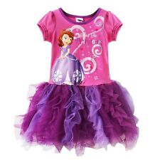 Girls Princess Sofia the First Shirt tutu Dress party Dance Costume Dress Up 2-7