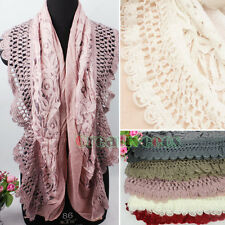 Floral Lace With Pretty Mohair Scallop Winter Handmade Crochet Knit Edge Scarf