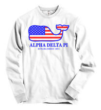 Alpha Delta Pi AMERICAN APPAREL Long Sleeve T Shirt USA Whale Flag NEW