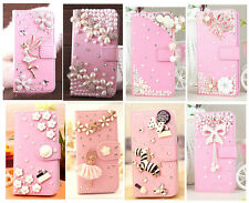 Luxury 3D Bling Pink PU Leather Case Cover For iPhone 4 5 6 6 Plus Samsung Phone