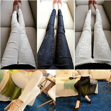 Women Fashion Casual Lace Flower Slim Fit Stretch Leggings Skinny Tight Pants