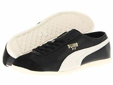 Puma Shoes Mens Athletic Black Off White Fashion Sneakers Leather Fit Trainers