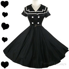 New Black Sailor Full Skirt Rockabilly 50s Pinup Swing Dress S M L Xl Xxl 1X 2X