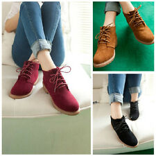 New Fashion Women Round Toe Boot Low Flat Heel Oxford Lace Up Suede Shoes Casual