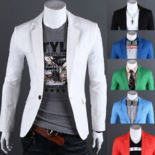 Mens One Button Stylish Casual Slim Fit Suit Blazer Jackets Coats Long Sleeve