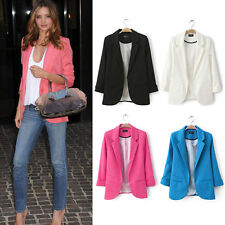 NEW Women Slim One Button Short Blazer Suit Jacket Coat Long Sleeve lady blazers