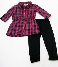 Young Hearts Red 2 Piece Metallic Plaid Shirt Legging Toddler Girls 2T 3T 4T New