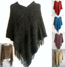 Women Batwing Cape Poncho Knit Top Cardigan Pull Over Sweater Coat Outwear #01