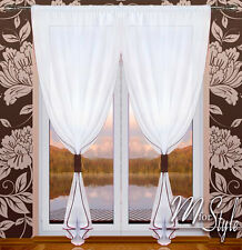 PAIR of Voile Net Curtains Slot Top White Ready Made Panels Window Patio Door