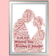 ROMANTIC PERSONALISED GIFT FOR HER OR HIM - WORD ART - ENGAGEMENT / ANNIVERSARY