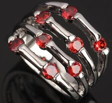 Fashion Jewelry Garnet Gemstones GORGEOUS Silver Rings US#Size5 6 7 8 9 T0588