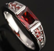 Fashion BEAUTIFUL Jewelry Garnet Gemstones Silver Rings US#Size5 6 7 8 9 T0384