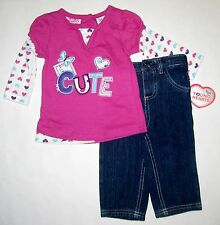 Young Hearts 2 Pieces Outfit Infant Girl Top & Denim Pants Size 12-18-24 Months