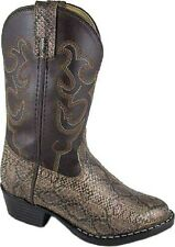 Boy's Faux Leather Brown Python Print Snip Toe Western Style Cowboy Boots