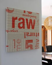 NEW CLOTH WORDS RED RUST RAW INDUSTRIAL FABRIC CANVAS WALL ART DECOR PICTURE