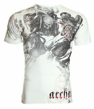 Archaic AFFLICTION Mens T-Shirt SHROUDED Cherub Skull Tattoo Biker UFC M-4XL $40