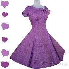 New Purple Swirl 50s Rockabilly Pinup Full Skirt Swing Party Dress S M L Cotton