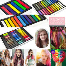 12 24 36 Colors Non-toxic Temporary Hair Chalk Dye Soft Pastels Salon Kit New