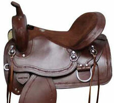 """Mule Tree Saddle 16 - 17"""" Barbed Wire Tooled-Western Trail Highback-7"""" Gullet nr"""