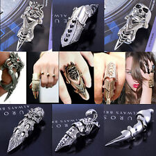 1PC Men's Full Finger Joint Armour Knuckle Ring Double Rings Punk Gothic Spike