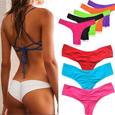 Sexy Ladies Brazilian V Style Scrunch Cheeky Butt Bikini Swimwear Bottom FO