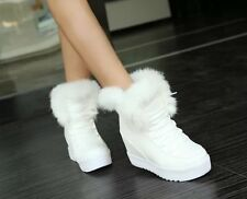Winter Chic Faux Fur Trim Lace Up Womens Ladies Trendy Flat Warm Warm Snow Boots
