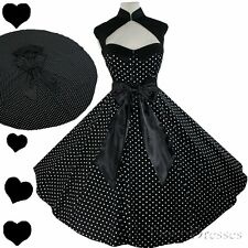 New POLKA DOT Rockabilly 50s FULL SKIRT Black Dress S M L XL XXL 1X Pinup PARTY