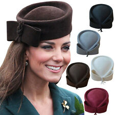 Winter Princess Women Wool Pillbox Fascinator Hat  Cocktail Party A253