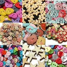 50~300Pcs Mixed Color 2Hole Wooden & Resin Buttons DIY Sewing Scrapbooking Craft