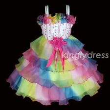 NEW Flower Girl Pageant Wedding Party Dancing Dress Multi-Color Kids SZ 3-8 A718