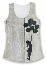 Banksy Balloon Girl Westbank All Over Print Fashion Tank Top & Draped Sleeve Top