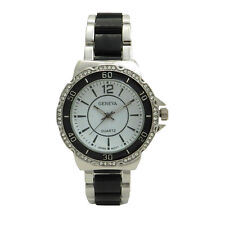 Diver Style Quad Crystal Set Dual Tone Plated Geneva Stainless Steel Women Watch