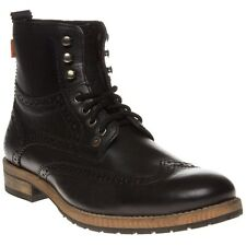 New Mens Superdry Black Jacob Leather Boots Brogue Shoes Lace Up