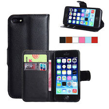 Flip Leather Case Wallet Cover For Apple iPhone 4 5 5S Free Screen Protector