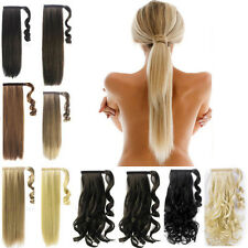 one piece wrap around ponytail clip in hair Extensions straight curly pony tail