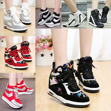 2014 New Women's Lace Up Sneaker Wedge Heel High Top Warm Trainer Boots Winter