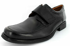 Mens Clarks Black Leather Velcro Formal Shoes G Fitting Style HOLD ROLL