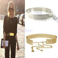 Fashion Wide Plate Full Metal Band Mirror Waistband Women Gold Waist Chains Belt