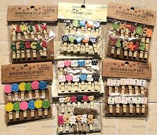 New Wooden Clothes Photo Paper Peg Clothespin Craft Wood Clips With Rope
