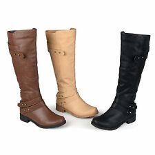 Brinley Co. Womens Wide-calf Button Detail Ankle-Strap Knee-High Riding Boot