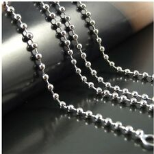 Ladies 925 Sterling Silver Shiny Ball Bead Necklace Chain 2.4MM 16~20 22 24 inch